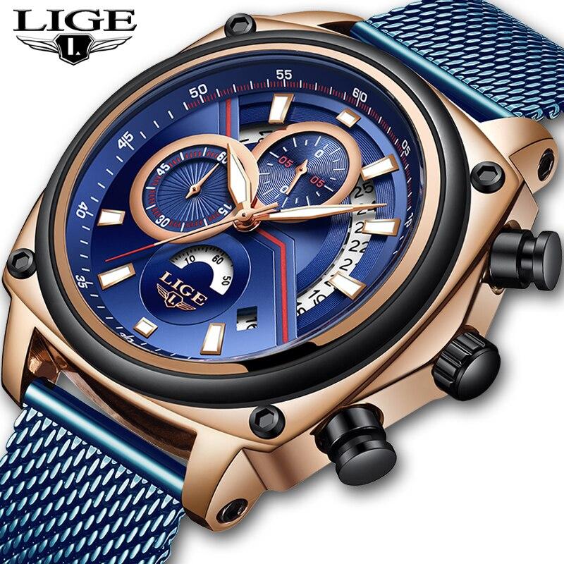 2019 Neue Lige Herren Uhren Mode Blau Sport Top Marke Luxus Edelstahl Wasserdicht Quarz Uhr Männer Relogio Masculino Box Hohe Sicherheit Uhren