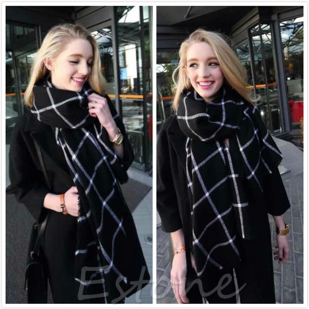 Lady Women Blanket Black White Plaid Cozy font b Tartan b font Checked Scarf Wraps Shawl