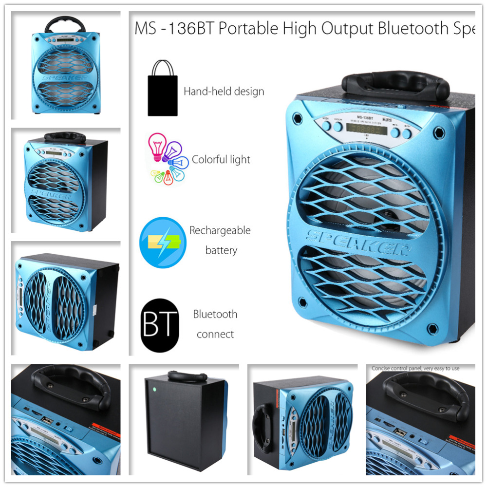 product MS - 136BT Large Output Wireless Bluetooth 2.1 Square Speaker Support AUX TF Input FM Function Box Mi Speaker