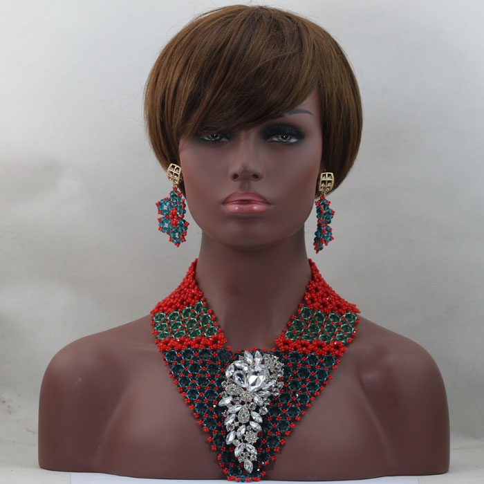 African Crystal Bead Set New Nigerian Beaded Jewelry Fashion Style Costume Jewelry Set Unique Design Free Shipping hx240