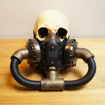 Double Steam Punk Mask Steampunk mask Gas Masks Daft Punk mighty  Metal Rivet Respirator Goggles Vintage glasses land Retro