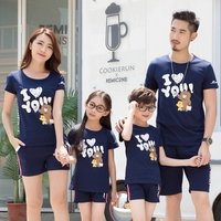 Family Matching Outfits Summer Cartoon Kids Clothing Set Mother And Daughter Son And Father Cotton T