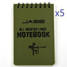 Conjunto de 5 verde impermeável/todo o tempo/chuveiro/notas aqua/bloco de notas/caderno