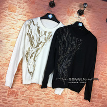 Blusa Hot Sale Polyester Lace Tumblr Tops Bead Slim Slimming Knitwear 2017 Spring And Autumn New Wild Heavy Hand Primer Shirt