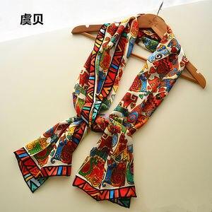 Image 5 - I gatti del fumetto di lunga sciarpa delle donne di protezione solare morbido sottile di gelso naturale di seta sciarpa stampata sciarpe dello scialle dellinvolucro regalo di natale per la Signora