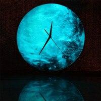 Creative Glowing Wall Clock Glowing Moon Earth Globe Acrylic Wall Clock Kids Room Wall Stickers Wall Clock Home Decoration