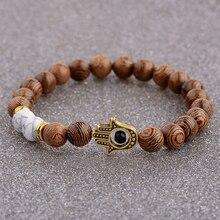 2020 Ethnic Women 8mm Brown Wood Beads Bracelets Gold Color Hand Beads Prayer Bracelet For Men ABJ015