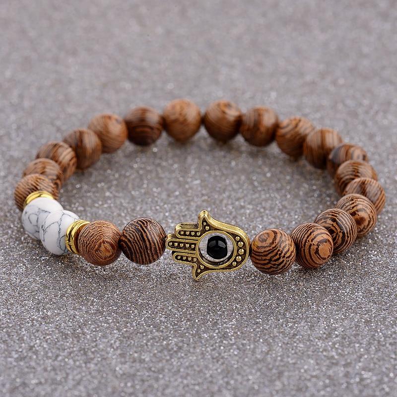 2020 Ethnic Women 8mm Brown Wood Beads Bracelets Silver