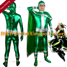 Free Shipping DHL New X-men Rogue Green Shiny Metallic Superhero Costume Cosplay Halloween Costume