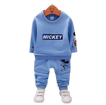 804bfdd973 Otoño niños ropa conjuntos Mickey bebé niños de algodón de moda sudadera  camiseta y pantalones trajes para niños conjuntos de ropa traje