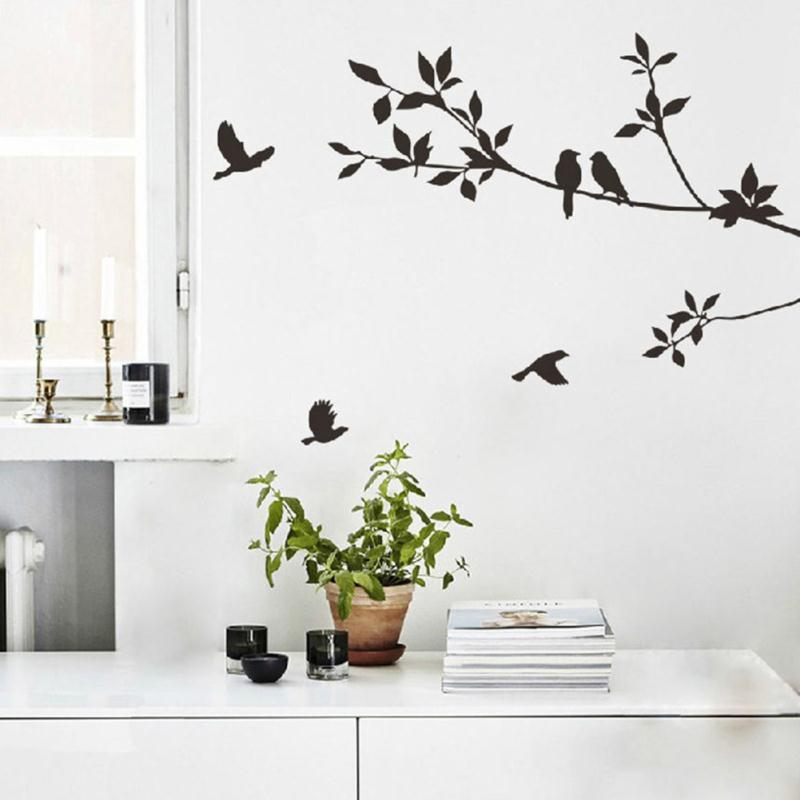 New design removable vinyl black leaves birds flying wall sticker art decal pvc wallpaper diy home living room decor in wall stickers from home garden on