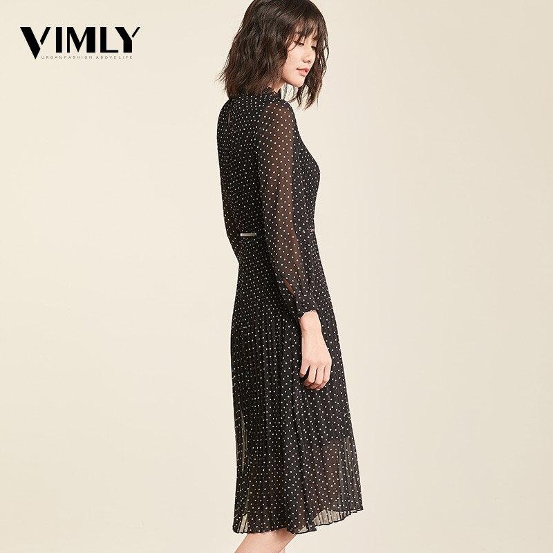 Vimly Elegant Polka Dot Women Dress Full Sleeve Female Office Chiffon Dot Print Dresses A-line Vintage Sweet Clothing vestidos