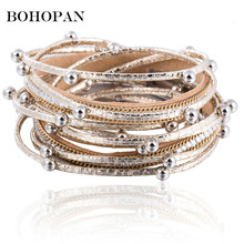 Leather Bracelets&Bangles For Women Ball Beads Multilayer Bangles Fashion Jewelry Vintage Bracelets & Bangle Party 2018