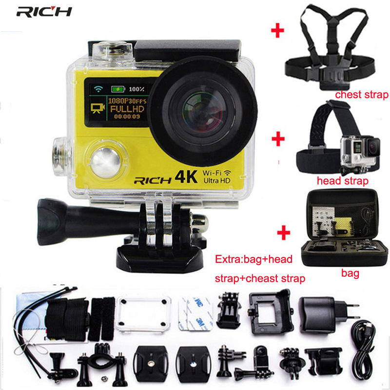 Action camera 4K H3 H3R Remote Control 4K 25fps WiFi 1080P dual screen 2.0 +0.95 170D Extreme Sport camera action camera h3 4k ultra hd wifi 1080p go sj pro style with h3r remote control waterproof dual screen sport camera