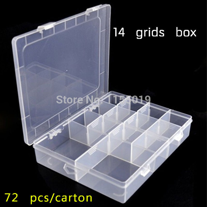 PP14 Slots Jewelry Beads Storage Box 14 Lattice Divided Organizer