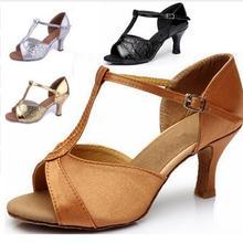 New 2017 Hot Sale Girls Women's Ballroom Tango Salsa Latin Dance Shoes Sales Silver Gold Black Tan Color Wholesale