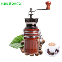 E5 Vintage Ceramic Manual Coffee Beans Mill Nut Spice Hand Grinder Stainless Steel