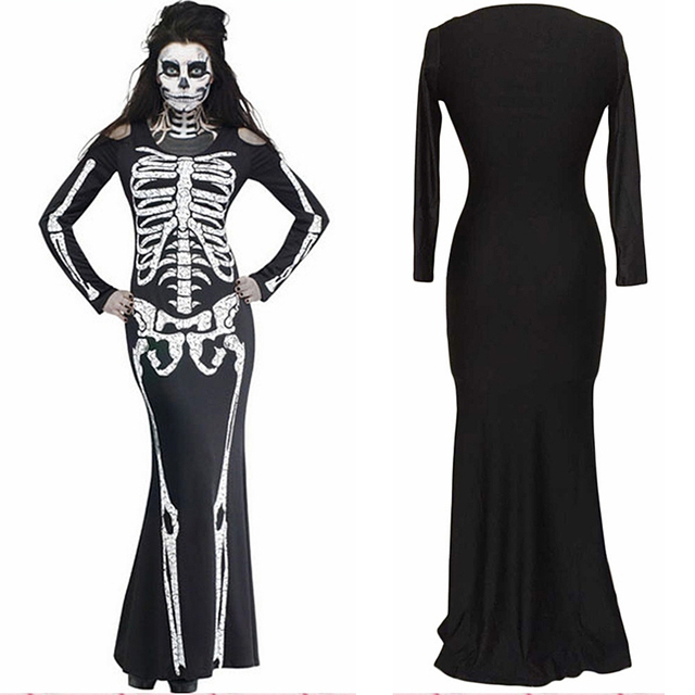 Skeleton images black and white dress
