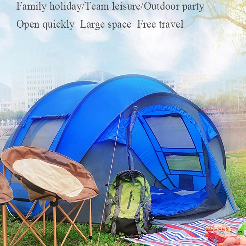 Tente-roulotte 3-4persons tente de plage Double Couche Anti UV Étanche tente ultralégère tourisme Randonnée famille tentes camping en plein air