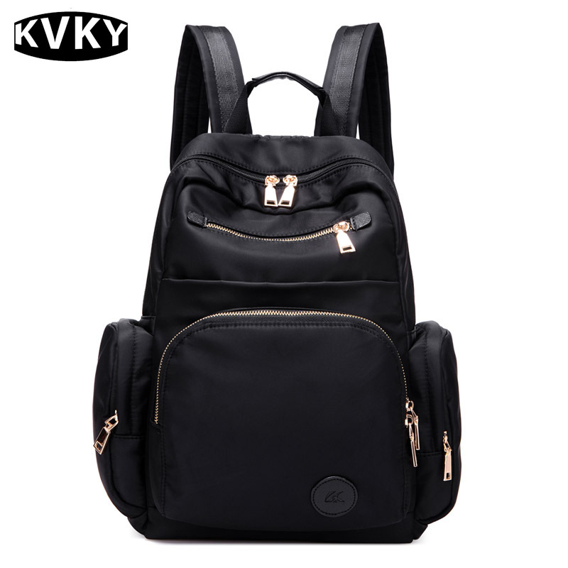 KVKY 2017 New Women Waterproof nylon Backpack student book Backpacks ladies purse laptop bag school bag
