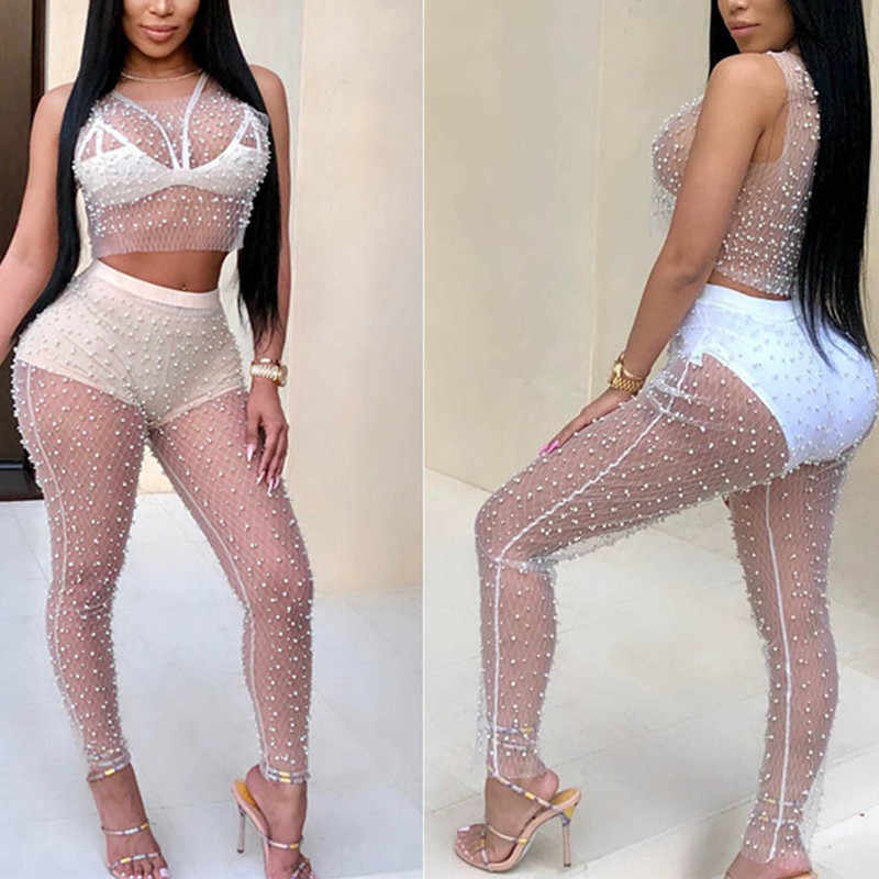 Women Sets Clothes 2018 Female Sheer Mesh Pearl Bikini Crop Tank top New Fashion Women Sexy Pencil Pants Three Color S-XL