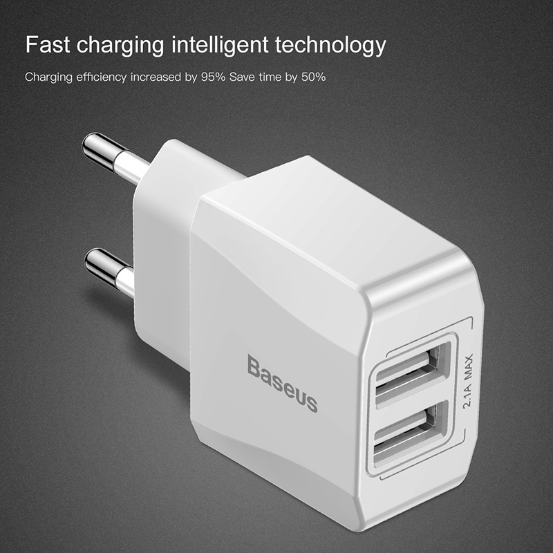 Baseus Dual Usb Charger Eu Plug Quick Lading 2.1A Wall Charger Max Mobiele Telefoon Opladen Mini Adapter Travel Charger Voor iphone 2