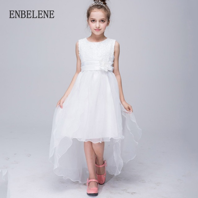 2017 big girls princess lace trailing dresses children solid red white bowknot crystal kids evening gown