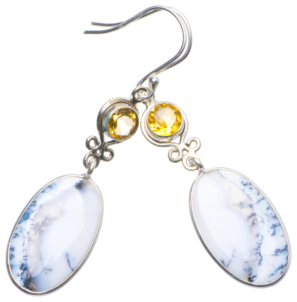 Natural Dendritic Opal and Citrine Handmade Unique 925 Sterling Silver Earrings 2.25 X4921 natural dendritic opal handmade unique 925 sterling silver ring us size 7 75 x1648