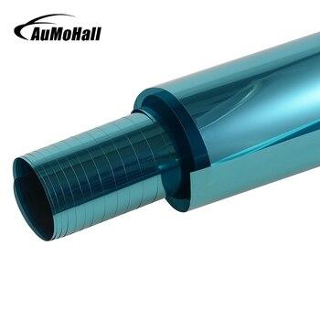AuMoHall 0,5 m * 3m ventana lateral de coche azul láminas de protección Solar Auto ventana tintado película