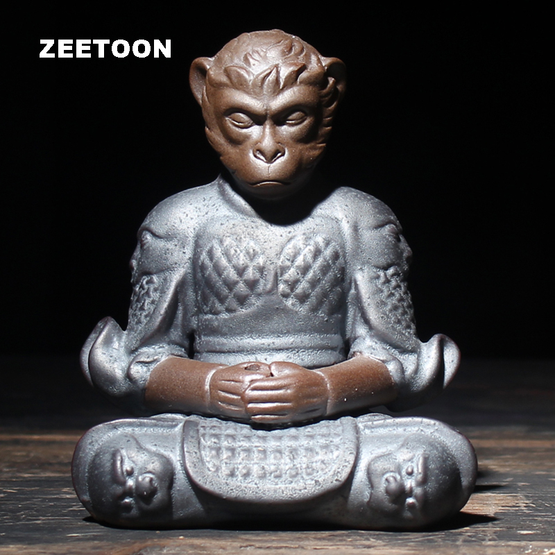 Zen Boutique Monkey King Tea Pet Stick Incense Burner Kungfu Tea Set Qi Tian Da Sheng Creative Pottery Sun WuKong Home Decor New slipper
