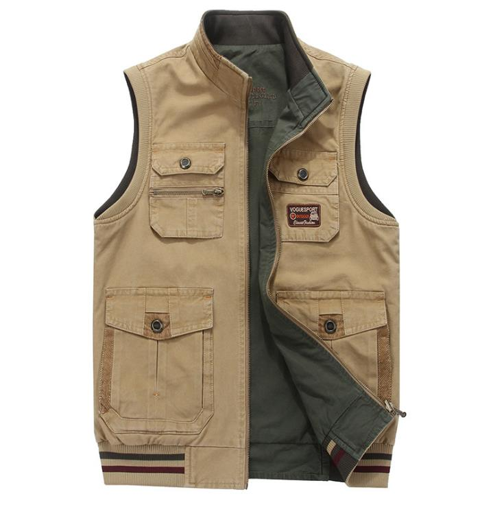 Men big size vest multi-pockets both side wear waistcoat stand collar cotton cargo military vest men outdoor colete M-9XL summer outdoors tactical mesh multi pockets vest men breathable shooting director photographer hunting hiking vest big size 6xl
