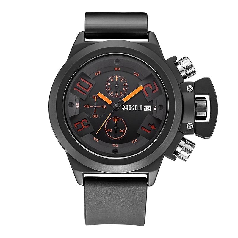 BAOGELA Luminous Watch Big Mens Watch Sport Quartz Men Wristwatches Black Sport Watch Men Relogio Masculino