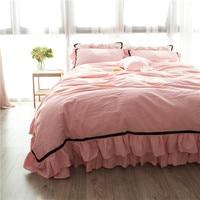 Free shipping 100%cotton pink coffee green blue gray white princess ruffles bedding set no filler 4pcs full queen king size