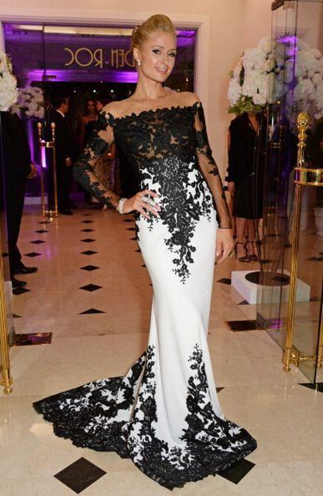 53513d242e2 Black And White Mermaid Evening Dresses Boat Neck Off The Shoulder Long  Sleeves Black Lace Elegant Evening Gowns-in Evening Dresses from Weddings &  Events ...