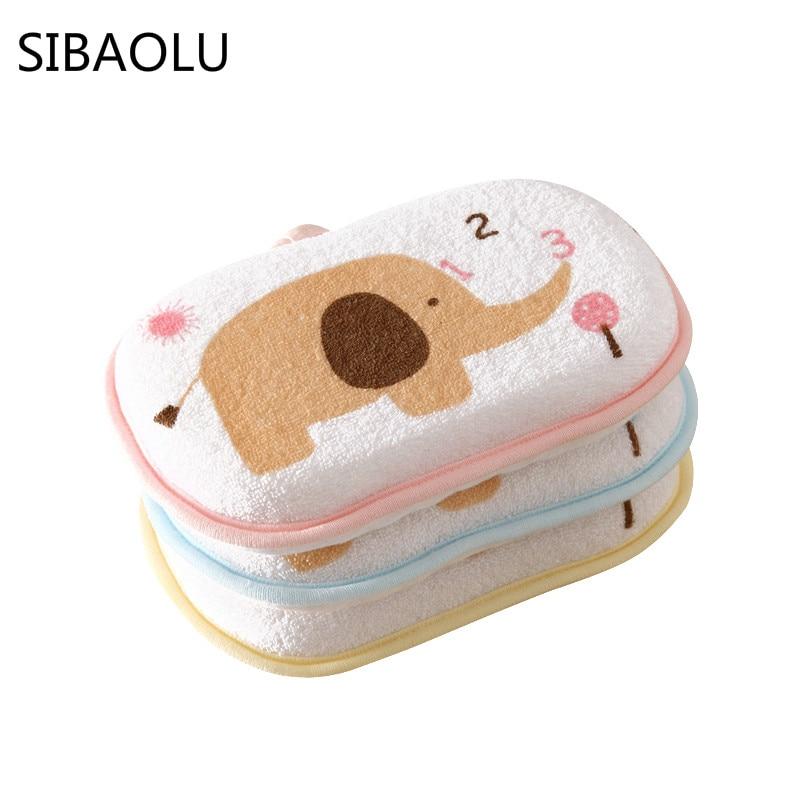SIBAOLU 3 Colors Catoom Baby Bath Sponge Brush Shower Cotton Rubbing Body Bath Brushes Spa Sponge Cleaning Scrub