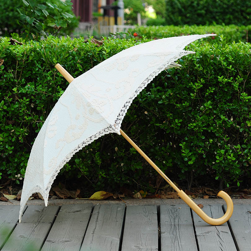 QUNYINGXIU Handgemaakte Craft Lace Paraplu Geborduurd Katoen Paraplu - Huishouden