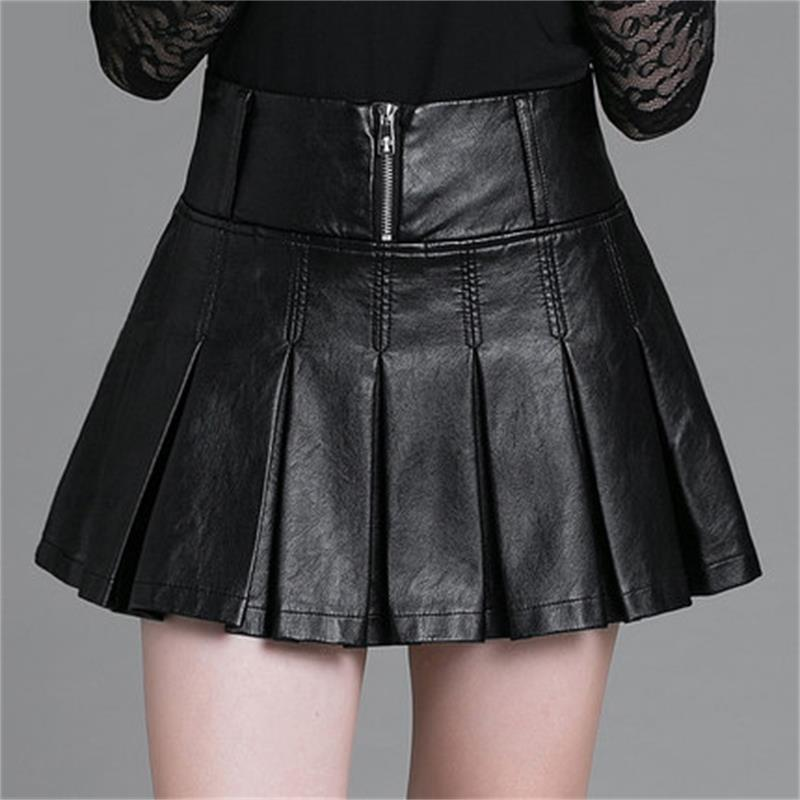 Short skirt large size women's skirt Korean version stitching PU leather pleated skirt autumn and winter base skirt image