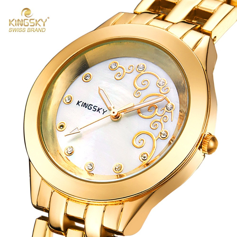 Fashion Women Watches KINGSKY Brand Women Wristwatch Gold Metal Band Japan Quartz Movement Clock For Ladies 2017 New feifan brand watches fashion sport watches for women new arrival 2016 high quality quartz watches japan movement case fp135