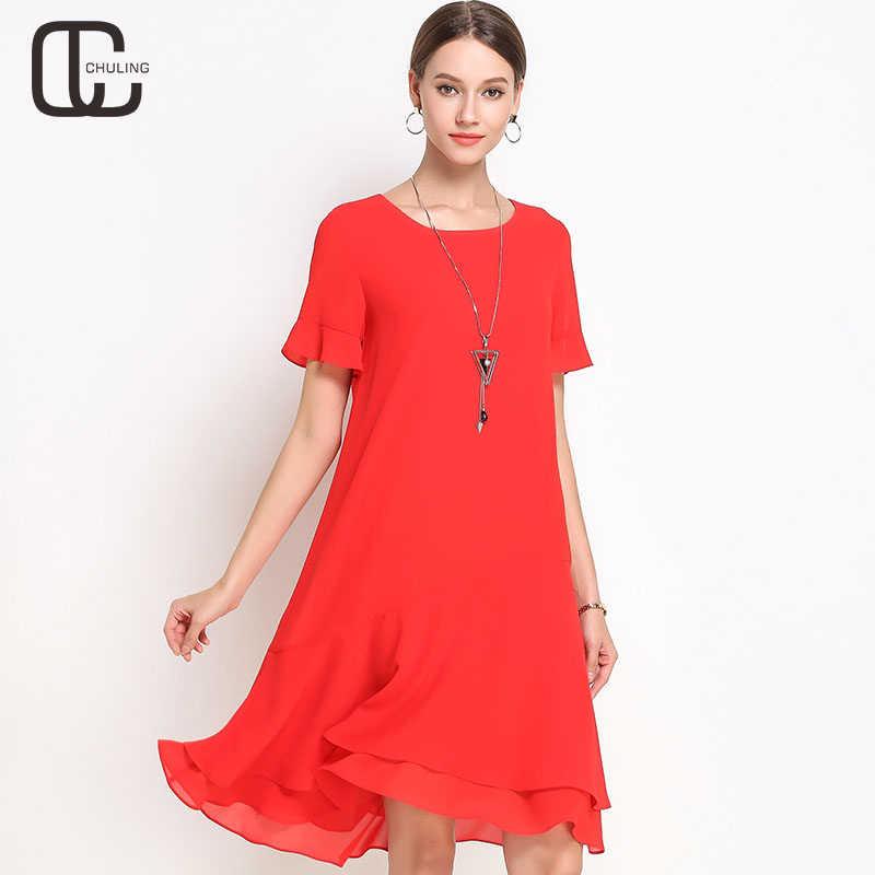 26351797a65 Женское черное красное шифоновое платье с расклешенными рукавами с оборками  Плюс Размер простое платье повседневное элегантное