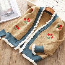 Детский кардиган с вышивкой осенняя одежда в Корейском стиле для детей новая одежда для девочек, свитер
