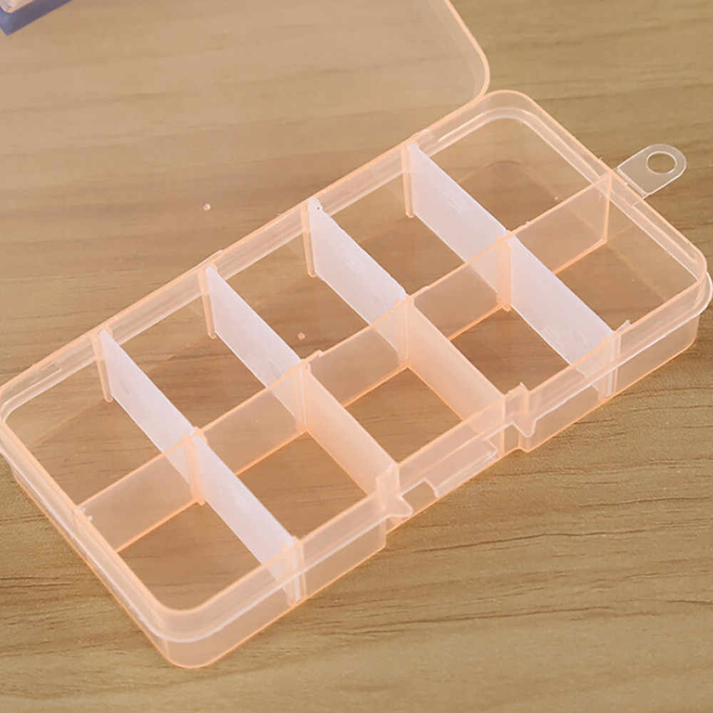 HAICAR New plastic Storage Box 10 Grids Adjustable Jewelry Beads Pills Nail Art Tips Storage box Case house keeping organization