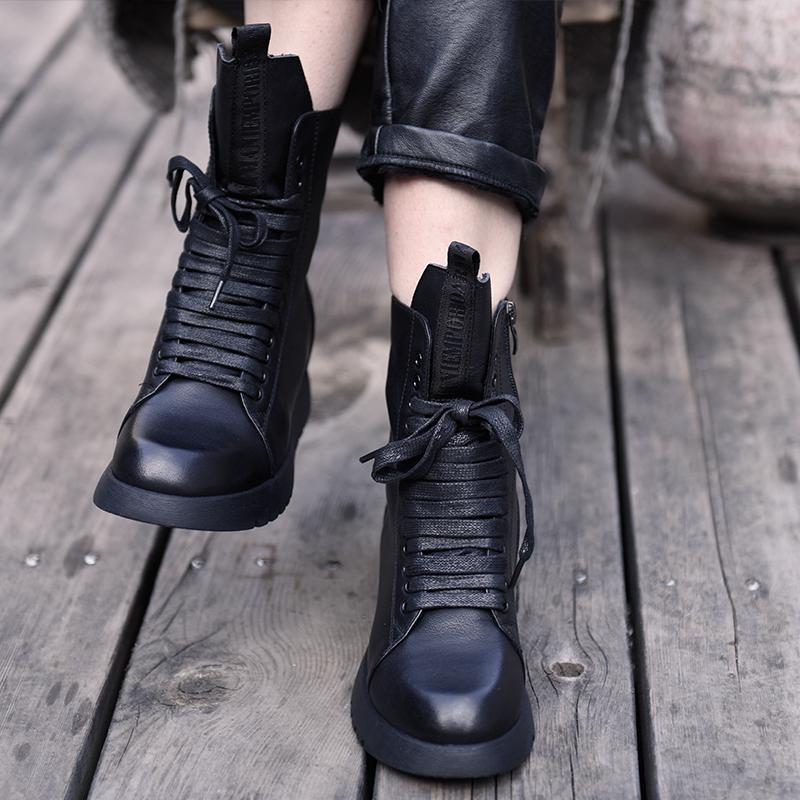 Artmu Original 2019 New Comfortable Height Increasing Women Shoes Girls Leisure Leather Ankle Boots Martin Boots Black 6619