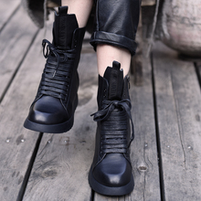 Artmu Original 2019 New Comfortable Height Increasing Women Shoes Girls Leisure Leather Ankle Boots Martin Black 6619