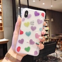 Tfshining For iphone X XR XS MAX Case Lovely Bling Glitter Love Heart Flower Shockproof Luxury Cover 7 8 Plus 6 6s