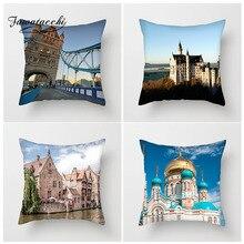 Fuwatacchi Famous Buliding Scenic Cushion Cover London Bridge Captive Palace Pillow Home Decoration Accessories Pillowcase