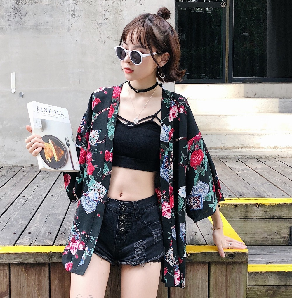 Plus Size Harajuku Cartoon Digit Print 2018 Summer Kimono Cardigan Womens Feminino Outerwear b102 100% Original