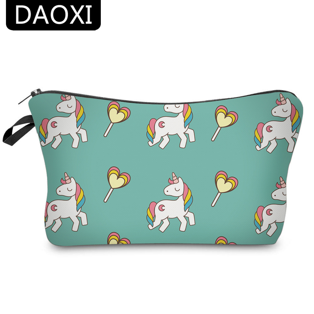 DAOXI 3D Printing Cosmetic Bags Cute Unicorn Storage Women Portable For Travel Makeup
