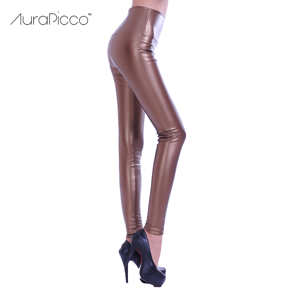 Womens High Waist Faux Leather Stretchy Leggings Ladies Slim Thicken Fleece Lined Pencil Pants 2017 Autumn Winter Leggings