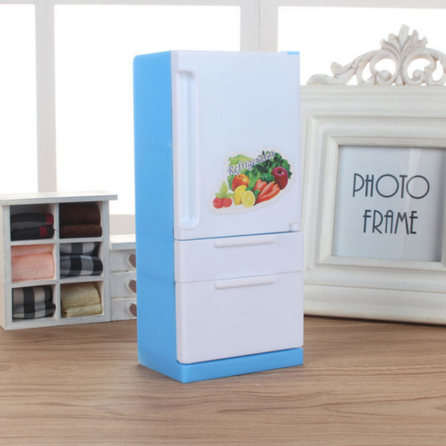 Kids Mini Plastic Refrigerator Dollhouse Furniture Doll Fridge