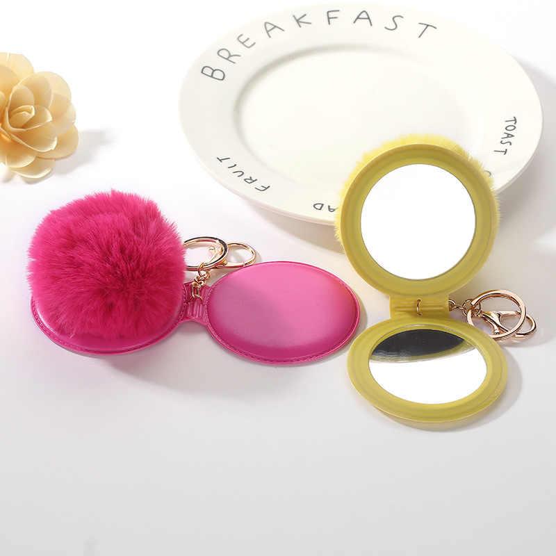 Espelho da corrente Chave 8 cm Faux Fur Pompom bola Pingente de Chave Do Carro Titular Saco Originalidade Charme Acessórios jóias Presente K1632
